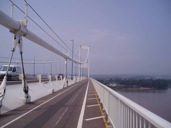 Crossing the Severn Bridge from England to Wales