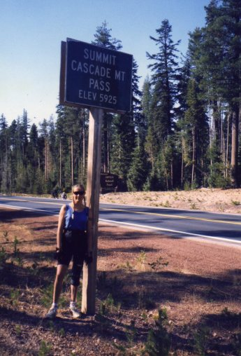 3 Oct 1999 Georgie at summit of Cascade Mountain Pass, Elevation 5925