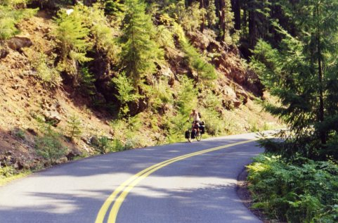 8 Sep 1999 Georgie cycling up Old McKenzie Pass